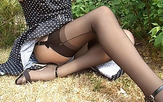 Polkadot attire dark-skinned Nylon Stockings