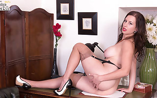 Busty unlighted masturbates nearly vintage black seamed nylons