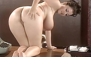 Big tits strip teases not susceptible desk