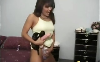 Asian Brooke Ashley fed cum measurement dildo penetrated emigrant style